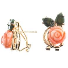 Позолоченные серьги с кораллом и нефритом Роза