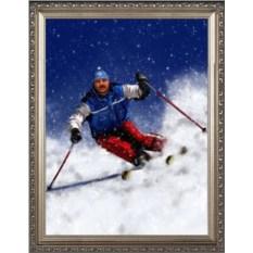 Оригинальный портрет лыжнику