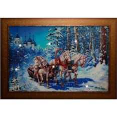 Картина Swarovski Новогодняя тройка лошадей