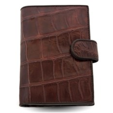Коричневое портмоне для автодокументов из кожи крокодила