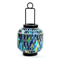 Декоративный фонарь-подсвечник синего цвета