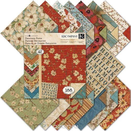 Набор бумаги для скрапбукинга K&Company Цветение, со стикерами, 42 листа