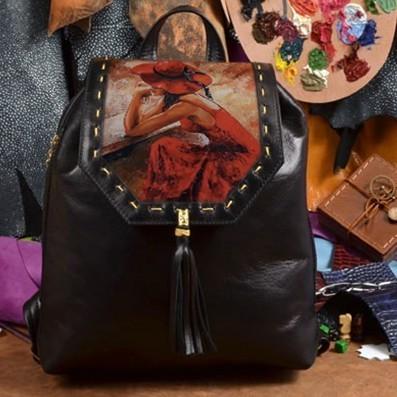 Женский кожаный рюкзак ручной работы Девушка в красном