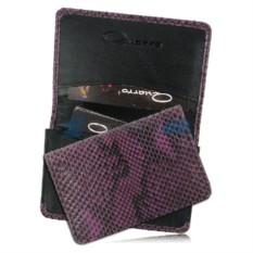 Фиолетовая визитница для своих визиток из кожи спины питона