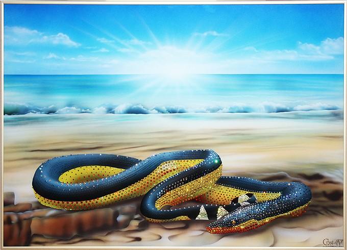 Картина с кристаллами Swarovski Водяная змея - Пеламида