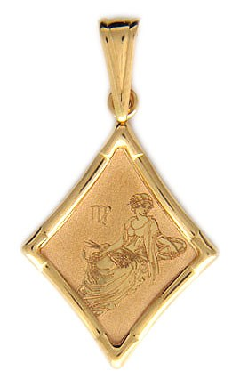 Подвеска Дева из красного золота 585 пробы