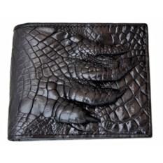 Мужской черный кошелек из натуральной кожи с лапой крокодила