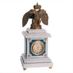 Интерьерные часы Орел из бронзы с лазуритом и патина