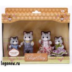 Игровой набор Village Story Семья серых котиков