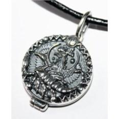 Серебряный открывающийся медальон Скорпион