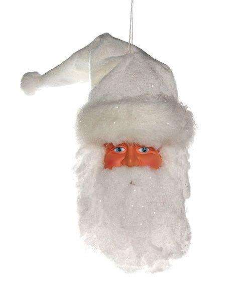 Елочное украшение Голова Санты в белой шапке