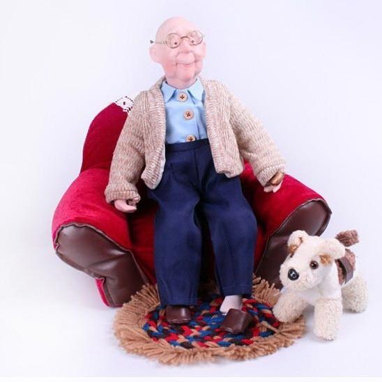 Кукла Дедушка с собакой