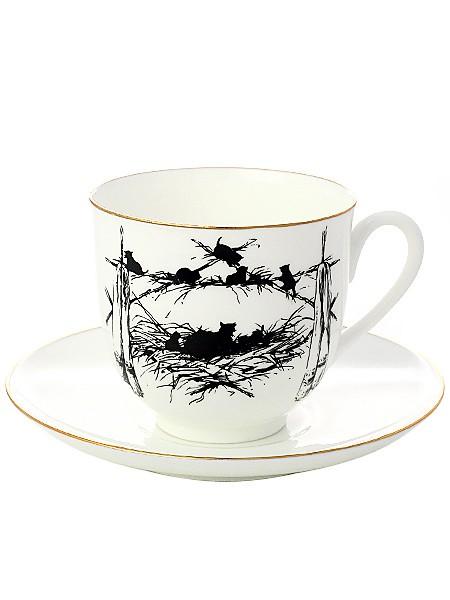 Фарфоровая кофейная чашка с блюдцем Котята