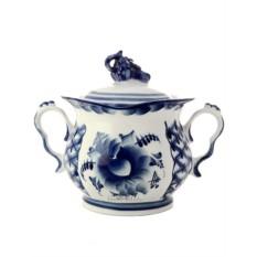 Керамическая сахарница с росписью Голубая рапсодия