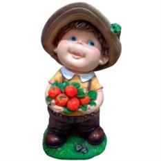 Декоративная садовая фигура Мальчик с яблоками