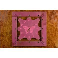 Часы из кожи Расписная бабочка