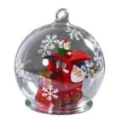 Новогодний стеклянный шар с Дедом Морозом-машинистом