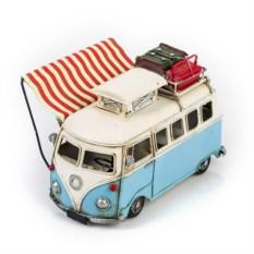 Ретро-модель Бело-голубой автобус с фоторамкой