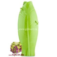 Фарфоровая скульптурная ваза Зелёный лист с лягушками