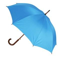 Голубой полуавтоматический зонт-трость с деревянной ручкой