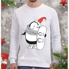 Белый мужской свитшот Пингви-сноубордист