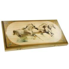 Малые нарды в деревянном коробе Лошади