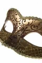 Карнавальный сувенир Маска Арлекин, золотисто-коричневый