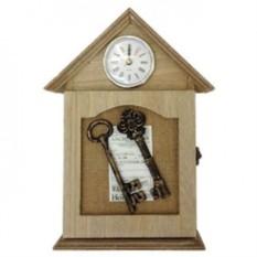 Настенная ключница с часами Дом