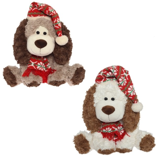 Мягкая игрушка Собака в шарфе и колпачке (35 см)