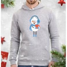 Серая мужская толстовка Снеговик с кружкой чая