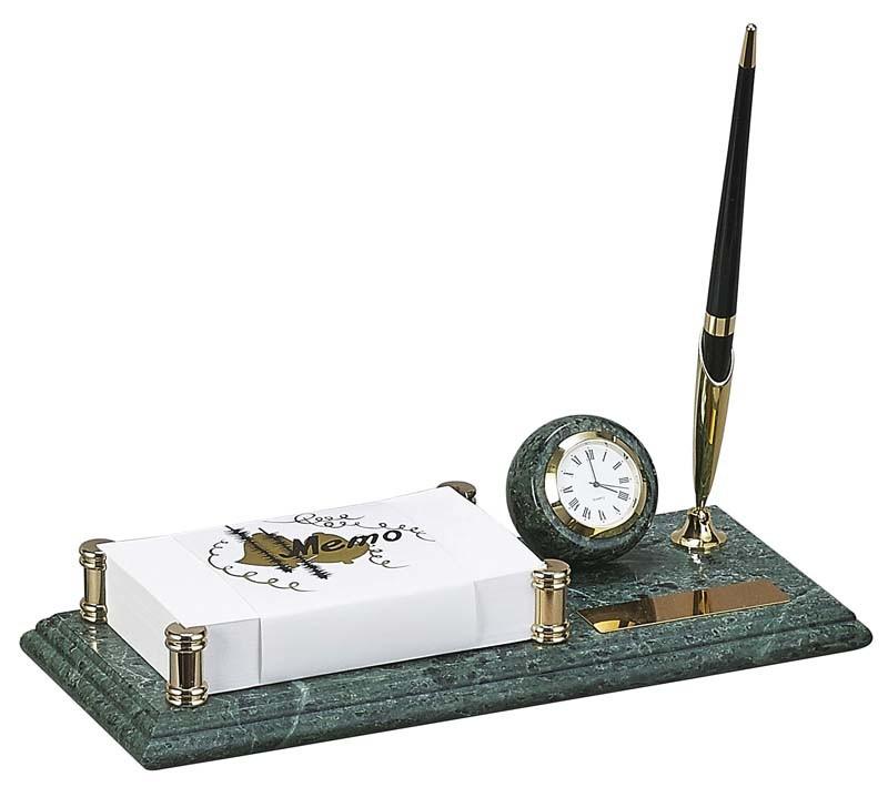 Настольный набор: держатель для блок-листов, часы, ручка