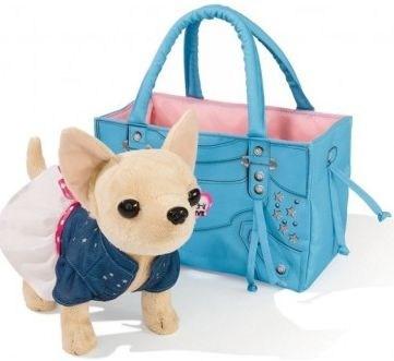Плюшевая собачка Городской стиль, с сумкой с заклепками, 20 см