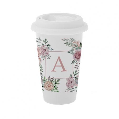 Керамический стакан для кофе Цветы