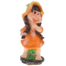 Декоративная садовая фигура Девочка-поганочка с косичками