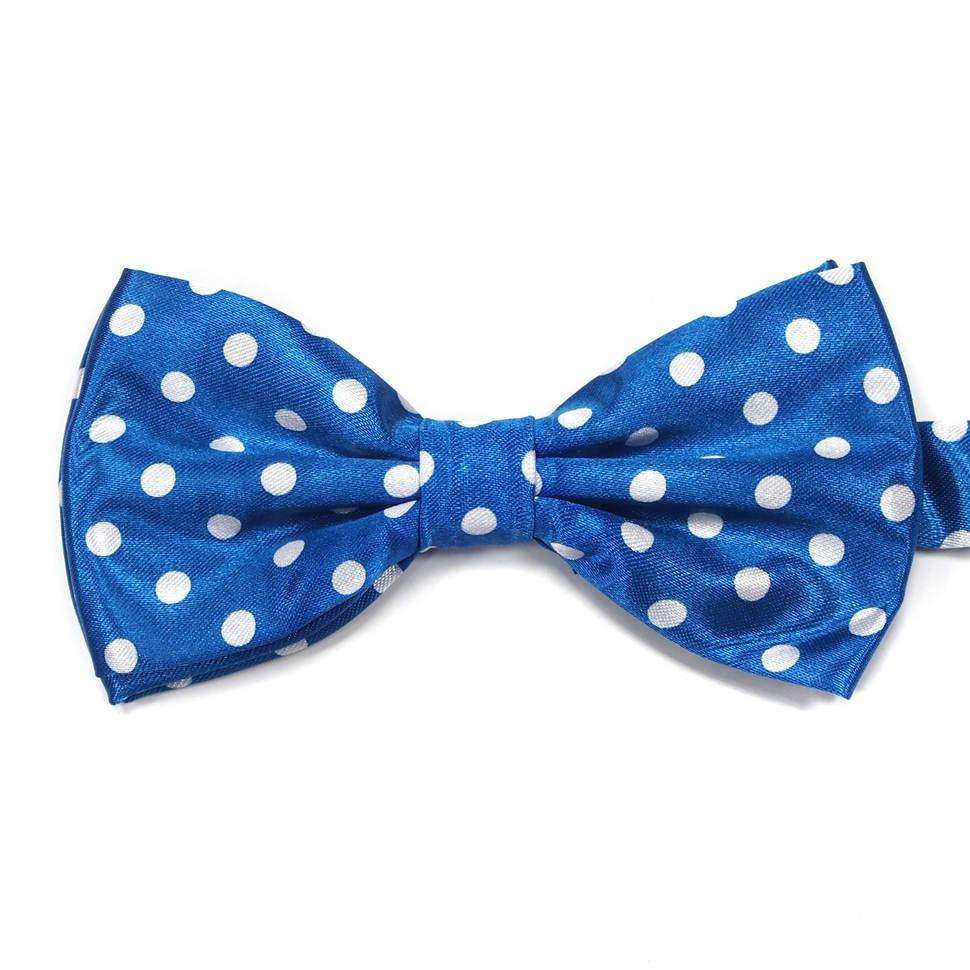 Светло синий галстук-бабочка в белый горошек