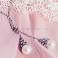Колье «Невеста» с жемчугом и кристаллами