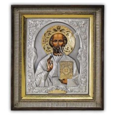 Икона Николай Чудотворец в киоте, с золотым венцом