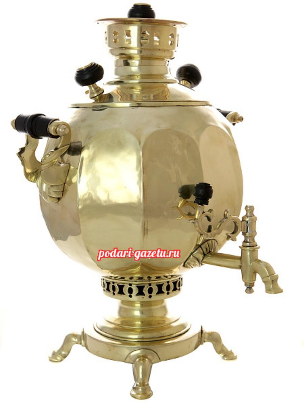 Угольный самовар (жаровой, дровяной) (5 литров) желтый шар с гранями