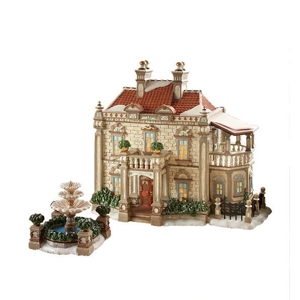 Новогодний сувенир «Особняк с фонтаном»