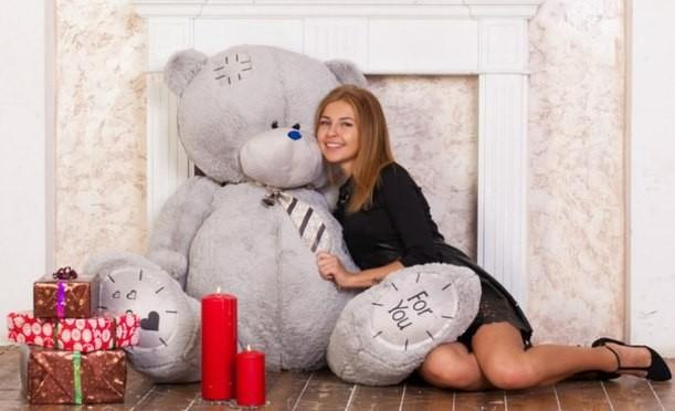 Плюшевый мишка Тедди (серый), 190 см.