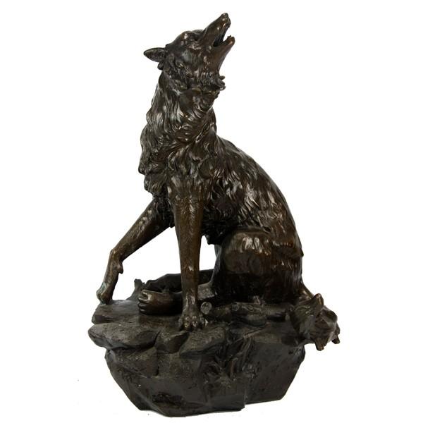 Бронзовая статуэтка Волк воет