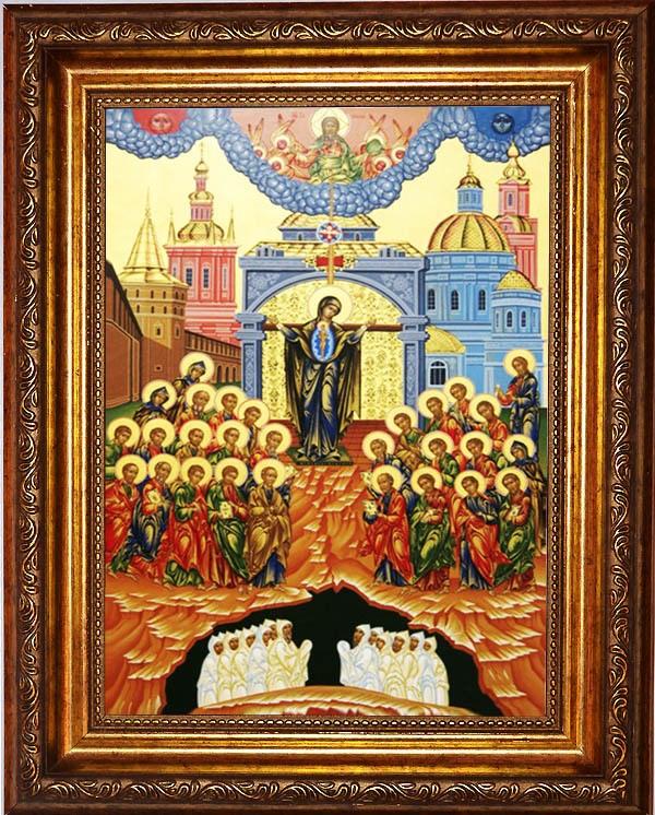 Икона Божьей Матери на холсте Непроходимая дверь