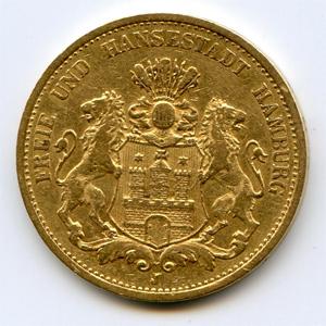 Монета «Гамбург 20 марок»