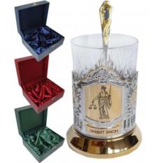 Чайный подарочный набор (подстаканник позолоченный) Фемида (Юристу)