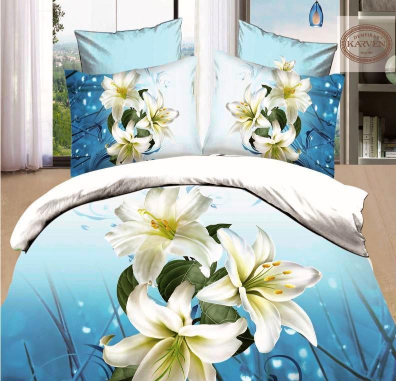 Голубой комплект постельного белья Karven