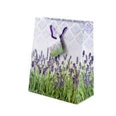 Бумажный ламинированный подарочный пакет с лавандой