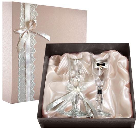Набор свадебных бокалов в подарочной коробке Ретро №10