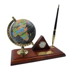 Деревянны настольный набор с глобусом, ручкой и часами