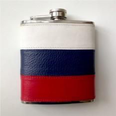 Кожаная фляжка Россия