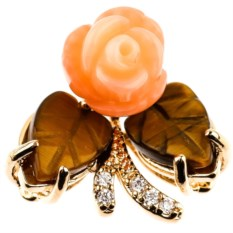 Кулон с кораллом и тигровым глазом Зачарованная роза